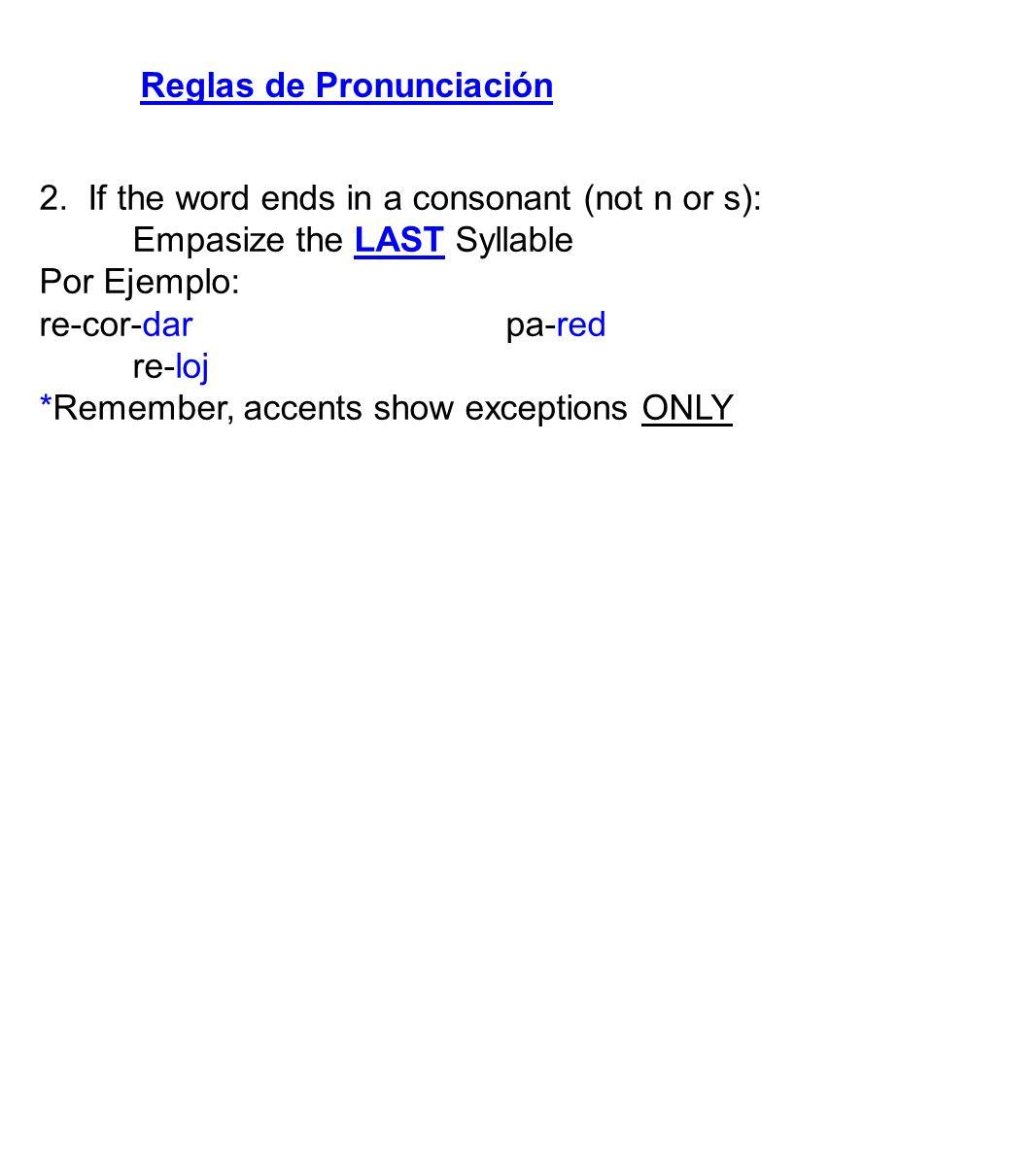 Reglas de Pronunciación