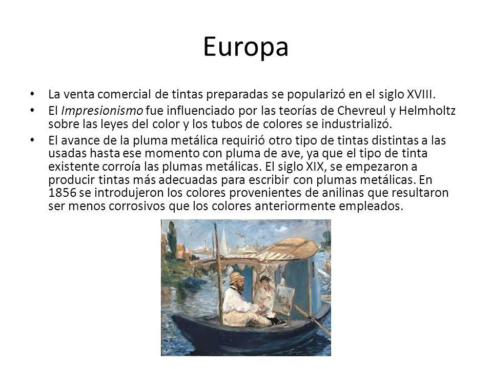 Europa La venta comercial de tintas preparadas se popularizó en el siglo XVIII.