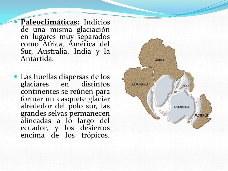 Paleoclimáticas: Indicios de una misma glaciación en lugares muy separados como África, América del Sur, Australia, India y la Antártida.