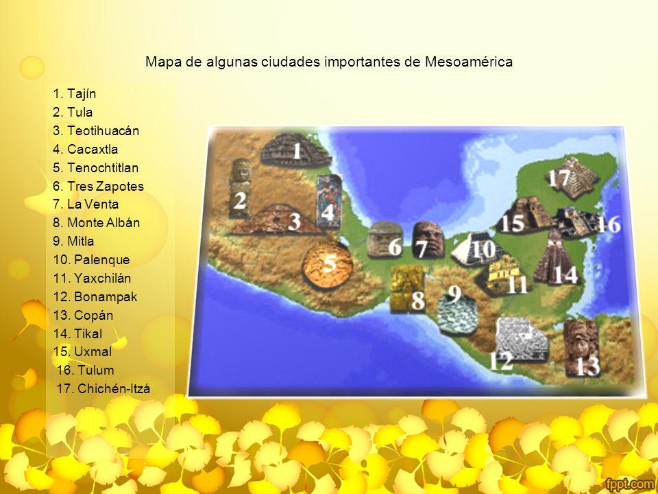 Mapa de algunas ciudades importantes de Mesoamérica