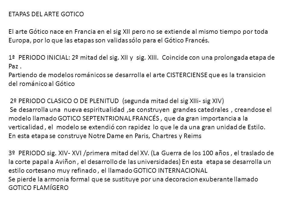 ETAPAS DEL ARTE GOTICO