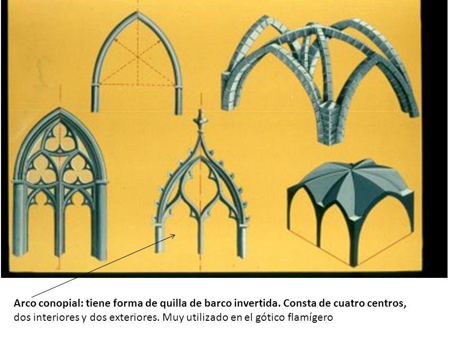 Arco conopial: tiene forma de quilla de barco invertida