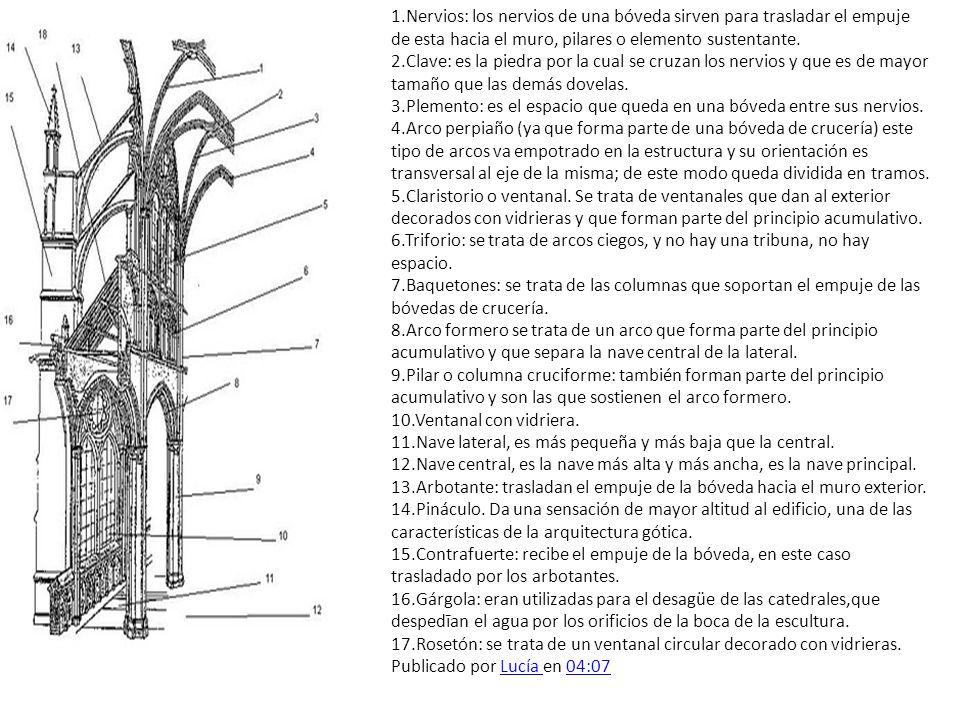 1.Nervios: los nervios de una bóveda sirven para trasladar el empuje de esta hacia el muro, pilares o elemento sustentante.