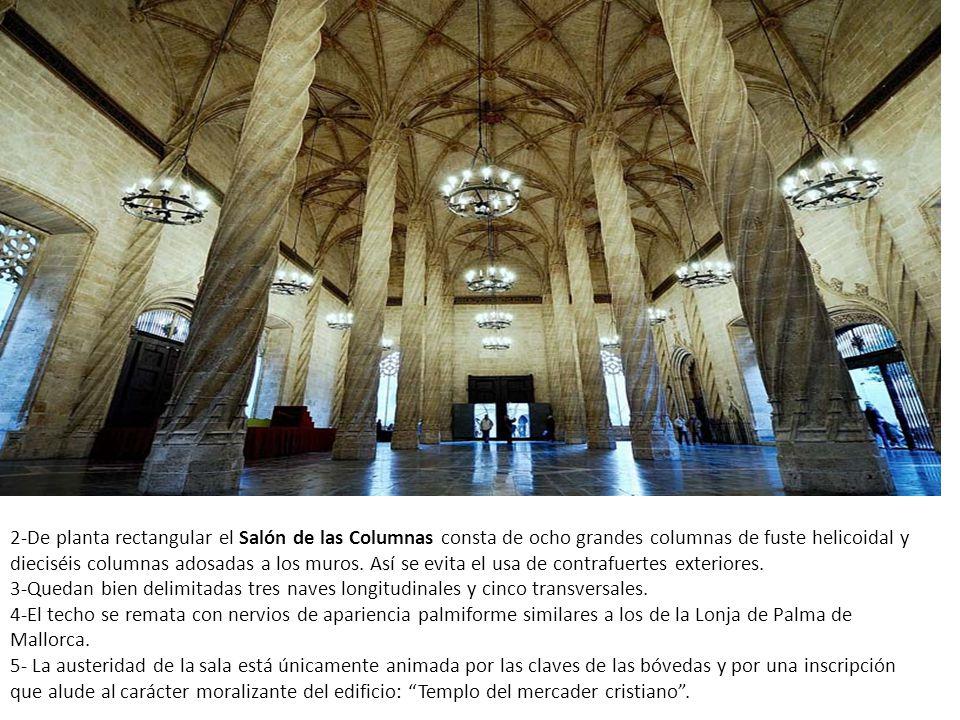 2-De planta rectangular el Salón de las Columnas consta de ocho grandes columnas de fuste helicoidal y dieciséis columnas adosadas a los muros.