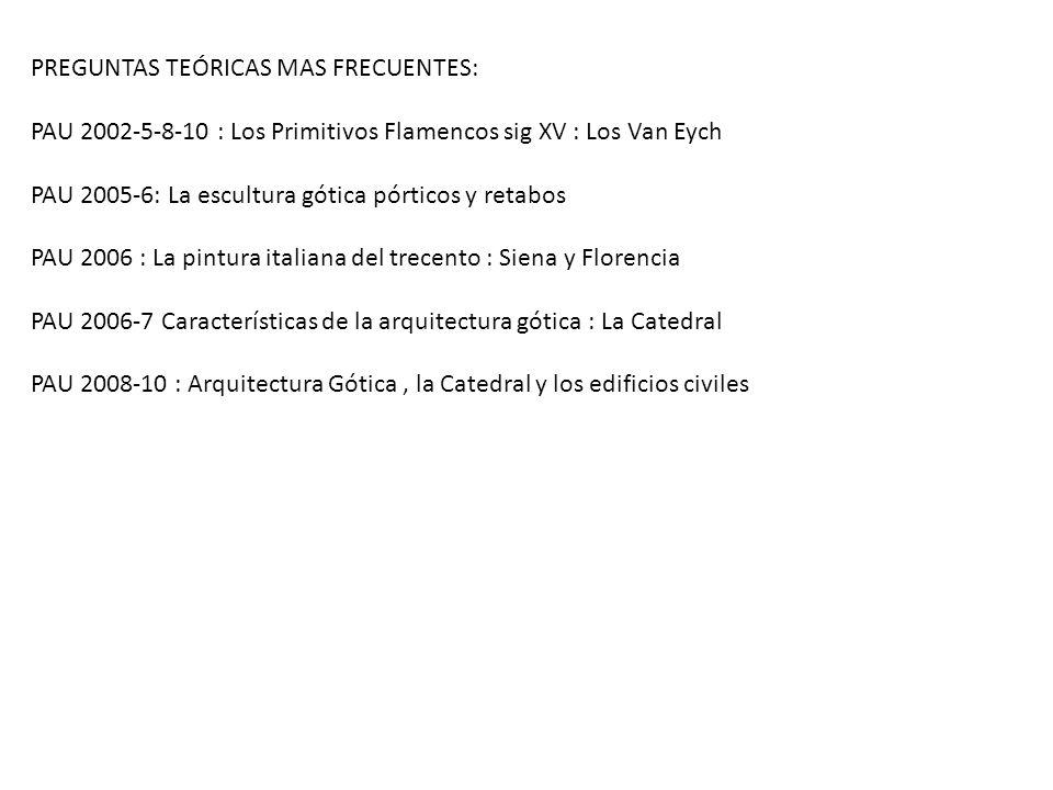 PREGUNTAS TEÓRICAS MAS FRECUENTES: