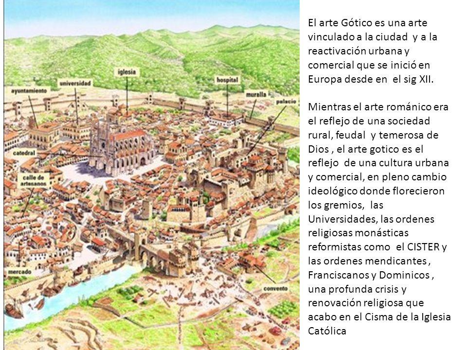 El arte Gótico es una arte vinculado a la ciudad y a la reactivación urbana y comercial que se inició en Europa desde en el sig XII.