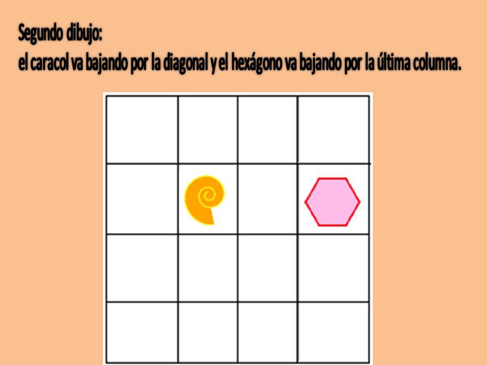 Segundo dibujo: el caracol va bajando por la diagonal y el hexágono va bajando por la última columna.