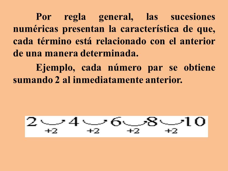 Por regla general, las sucesiones numéricas presentan la característica de que, cada término está relacionado con el anterior de una manera determinada.