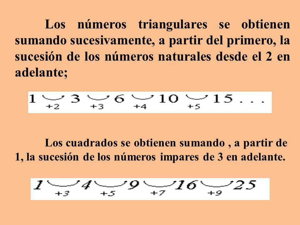 Los números triangulares se obtienen sumando sucesivamente, a partir del primero, la sucesión de los números naturales desde el 2 en adelante;