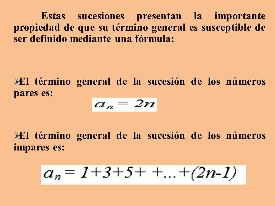 El término general de la sucesión de los números pares es: