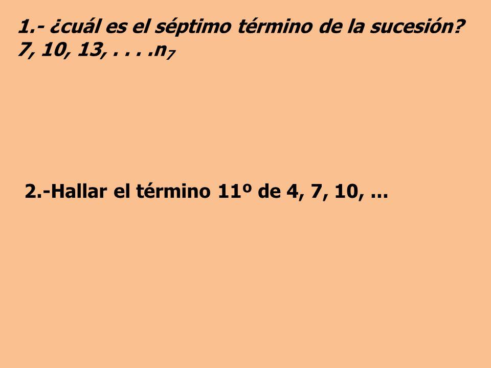 1.- ¿cuál es el séptimo término de la sucesión