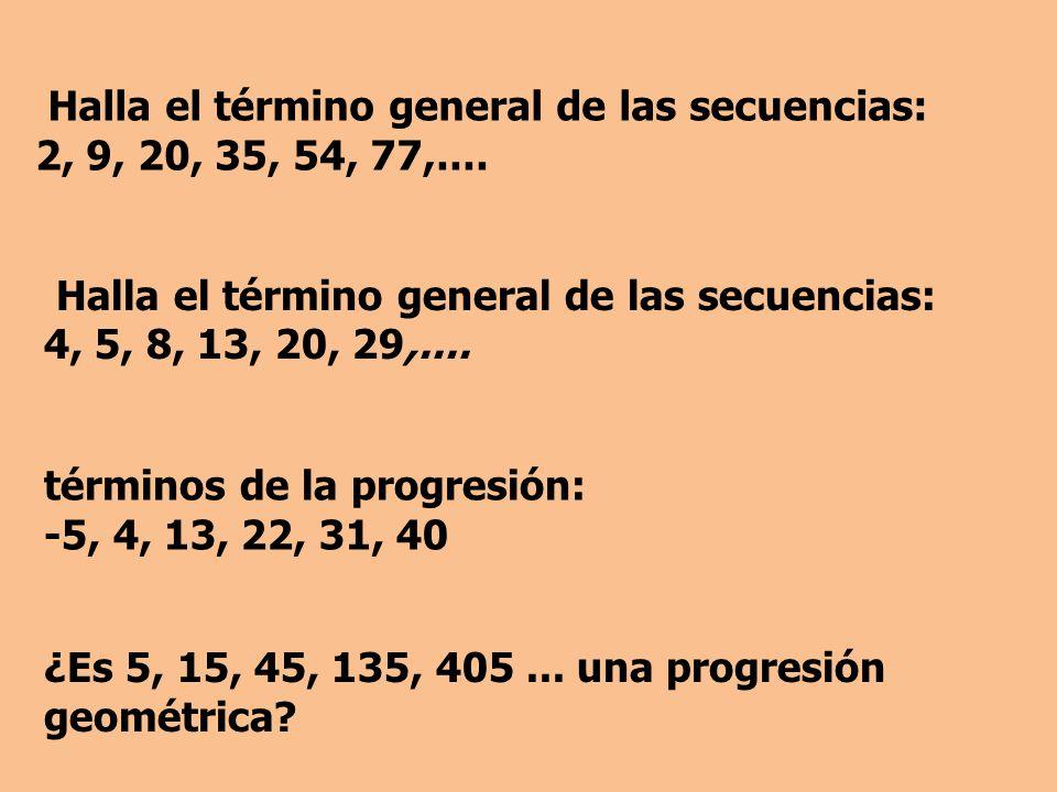Halla el término general de las secuencias: