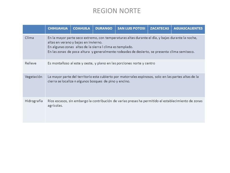 REGION NORTE CHIHUAHUA COAHUILA DURANGO SAN LUIS POTOSI ZACATECAS