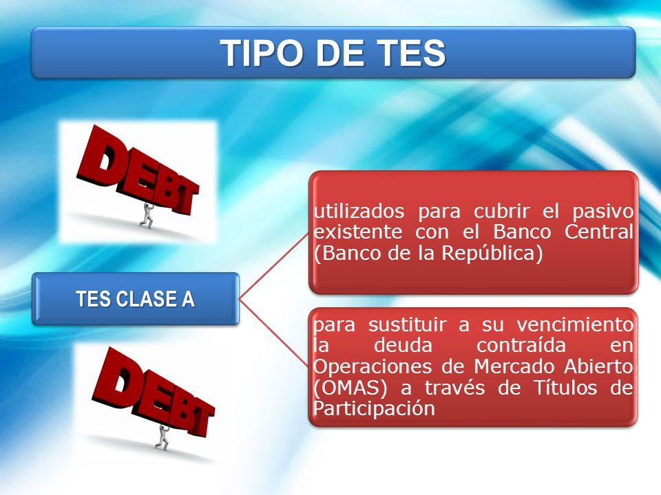 TIPO DE TES TES CLASE A. utilizados para cubrir el pasivo existente con el Banco Central (Banco de la República)