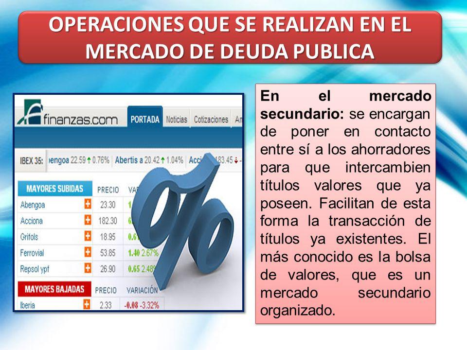 OPERACIONES QUE SE REALIZAN EN EL MERCADO DE DEUDA PUBLICA