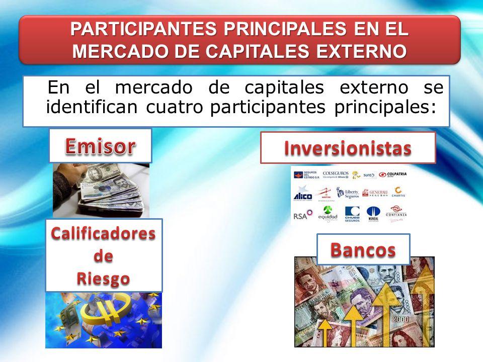 PARTICIPANTES PRINCIPALES EN EL MERCADO DE CAPITALES EXTERNO