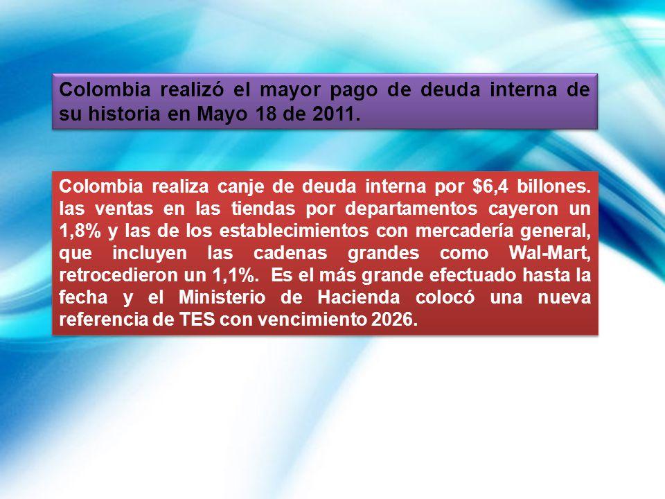 Colombia realizó el mayor pago de deuda interna de su historia en Mayo 18 de 2011.