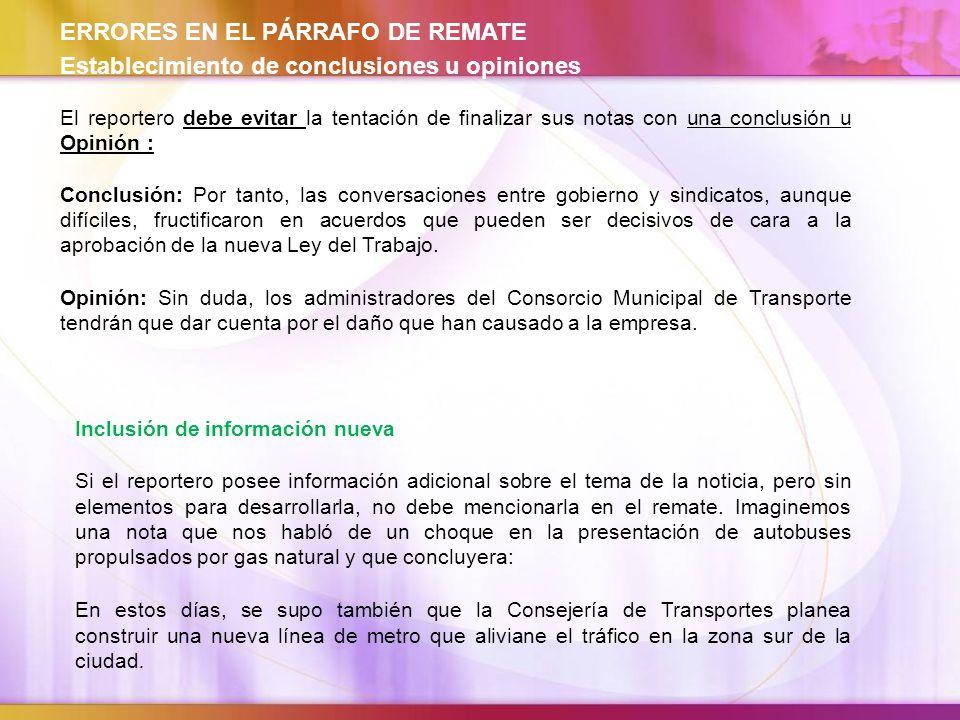 ERRORES EN EL PÁRRAFO DE REMATE