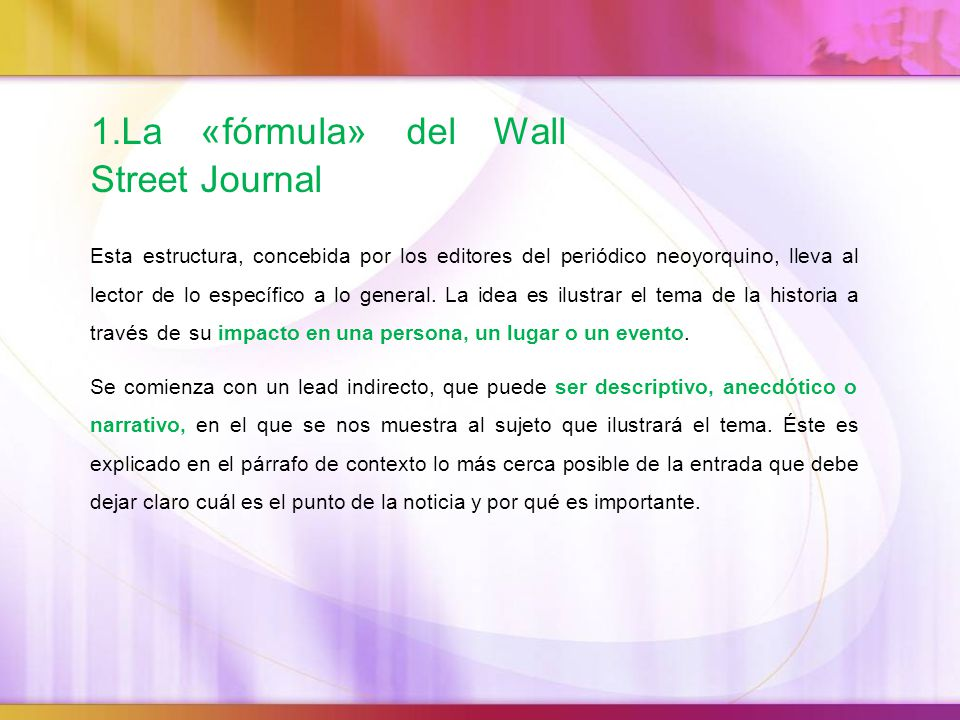 1.La «fórmula» del Wall Street Journal