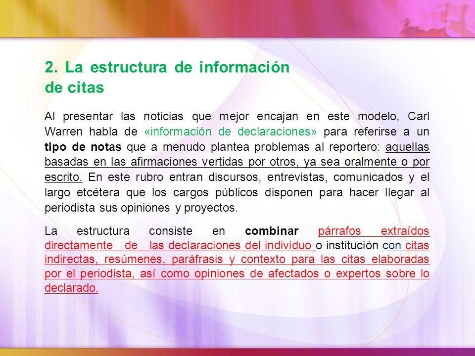 2. La estructura de información de citas
