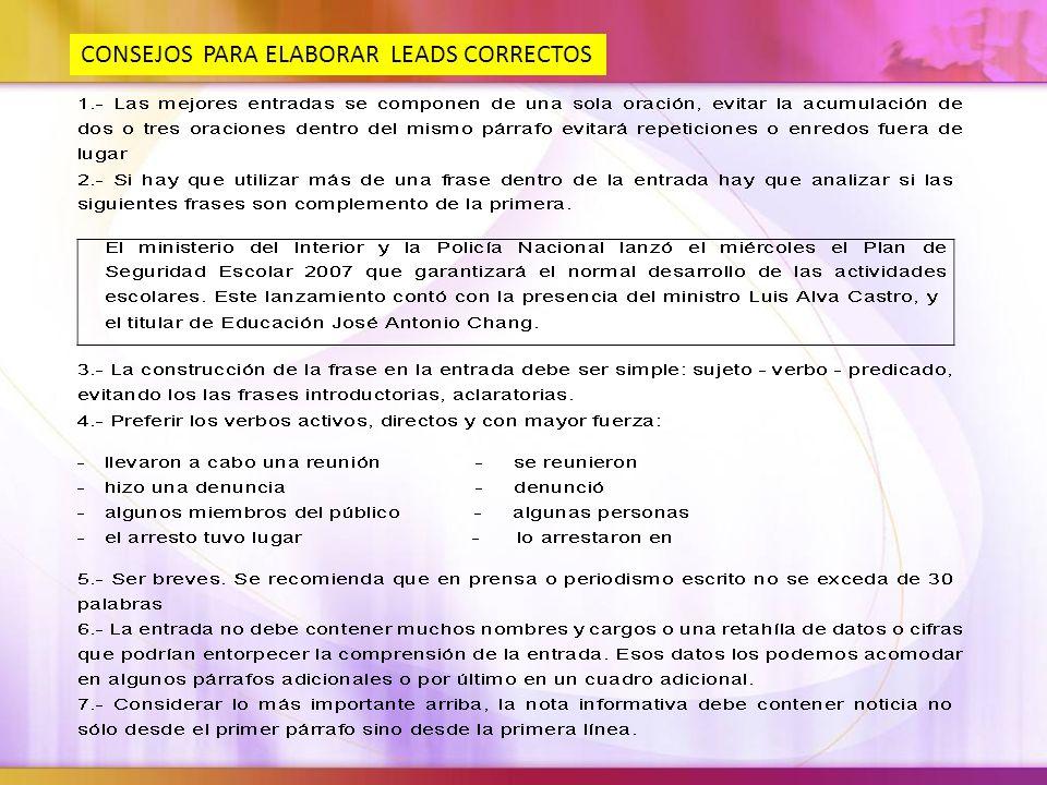 CONSEJOS PARA ELABORAR LEADS CORRECTOS