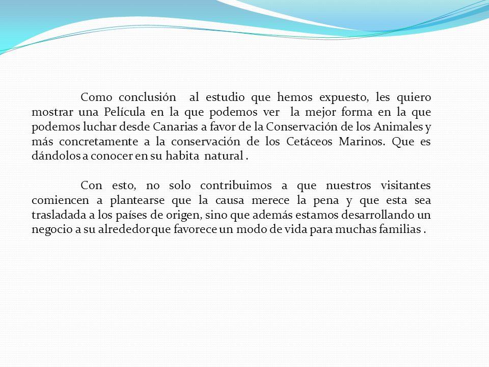 Como conclusión al estudio que hemos expuesto, les quiero mostrar una Película en la que podemos ver la mejor forma en la que podemos luchar desde Canarias a favor de la Conservación de los Animales y más concretamente a la conservación de los Cetáceos Marinos. Que es dándolos a conocer en su habita natural .