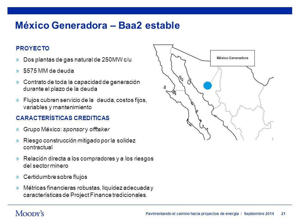 México Generadora – Baa2 estable