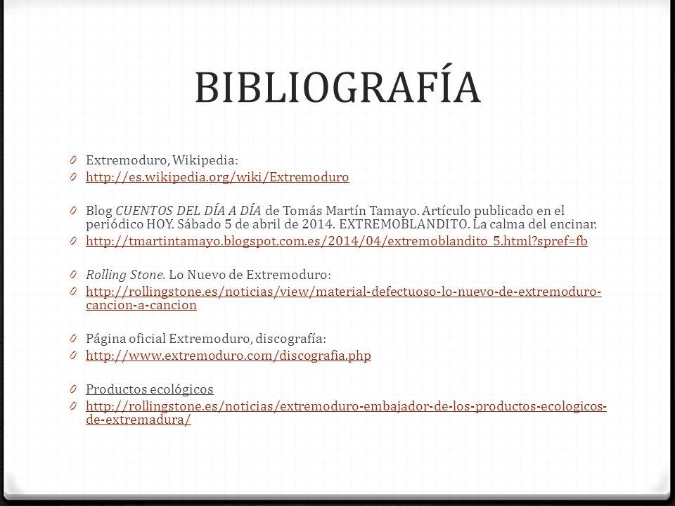 BIBLIOGRAFÍA Extremoduro, Wikipedia: