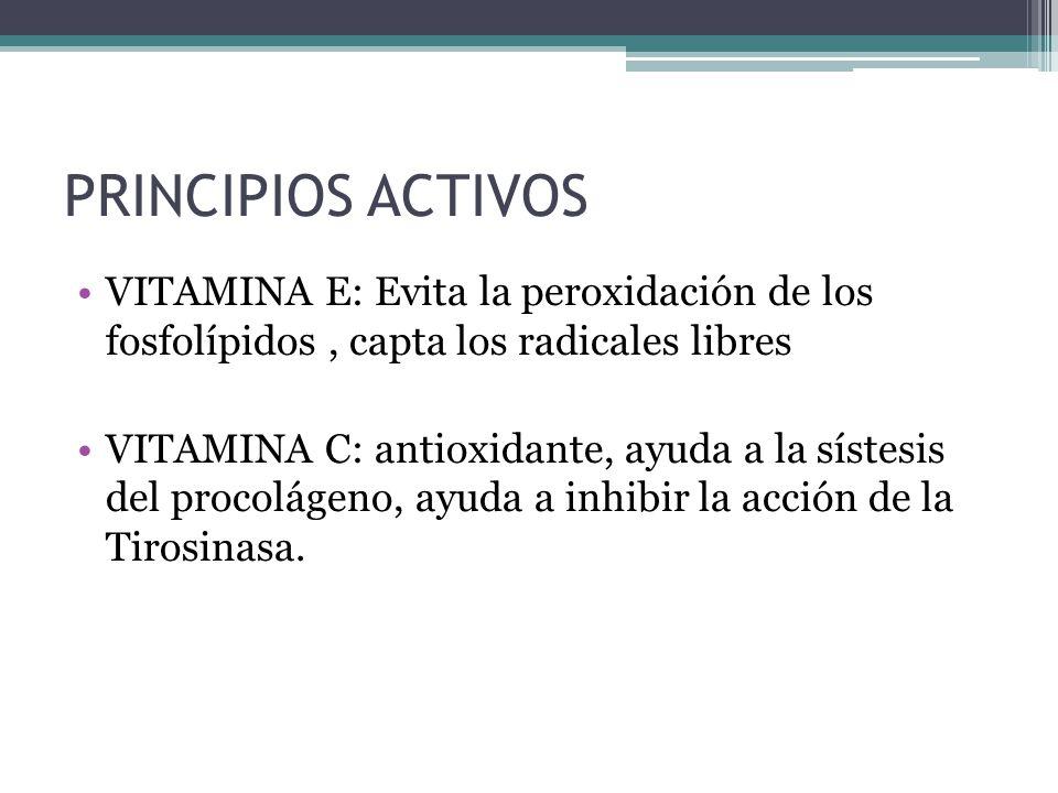 PRINCIPIOS ACTIVOS VITAMINA E: Evita la peroxidación de los fosfolípidos , capta los radicales libres.