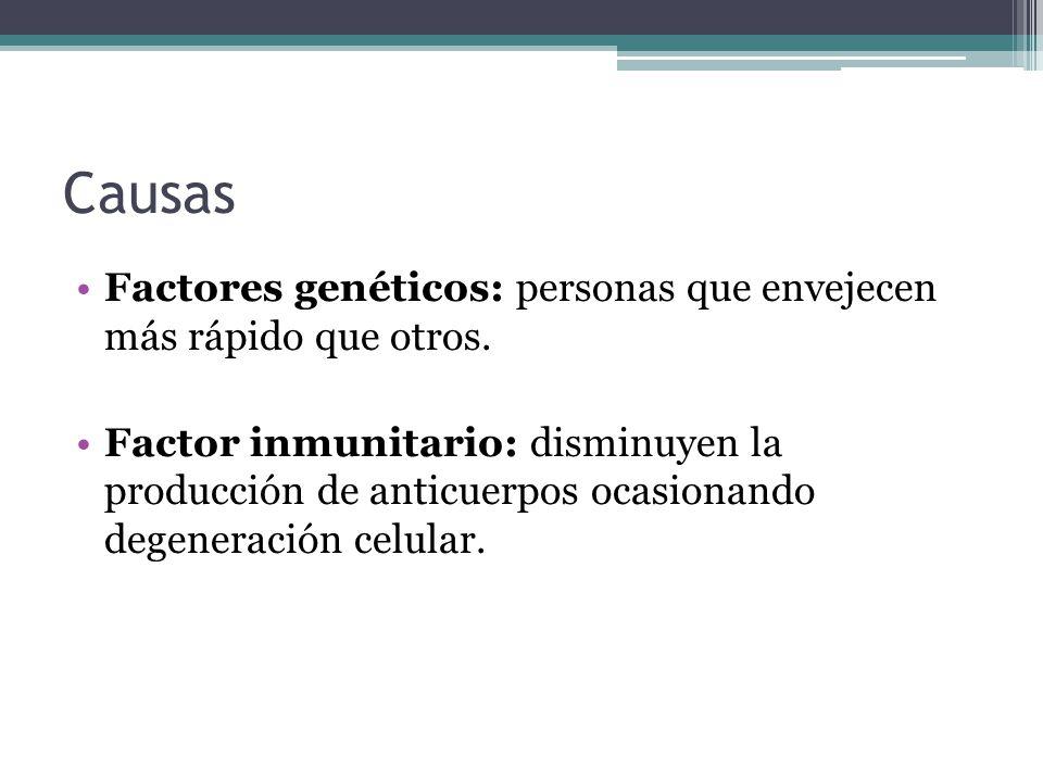 Causas Factores genéticos: personas que envejecen más rápido que otros.