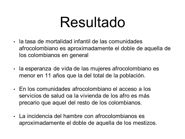 Resultado la tasa de mortalidad infantil de las comunidades afrocolombiano es aproximadamente el doble de aquella de los colombianos en general.