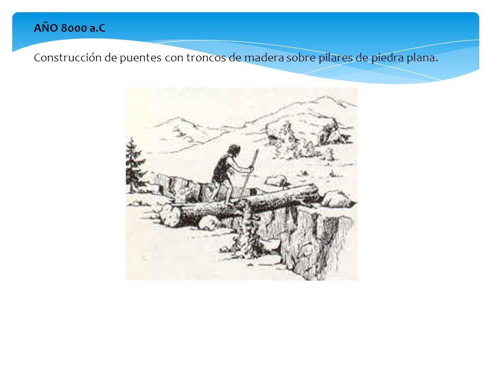 AÑO 8000 a.C Construcción de puentes con troncos de madera sobre pilares de piedra plana.