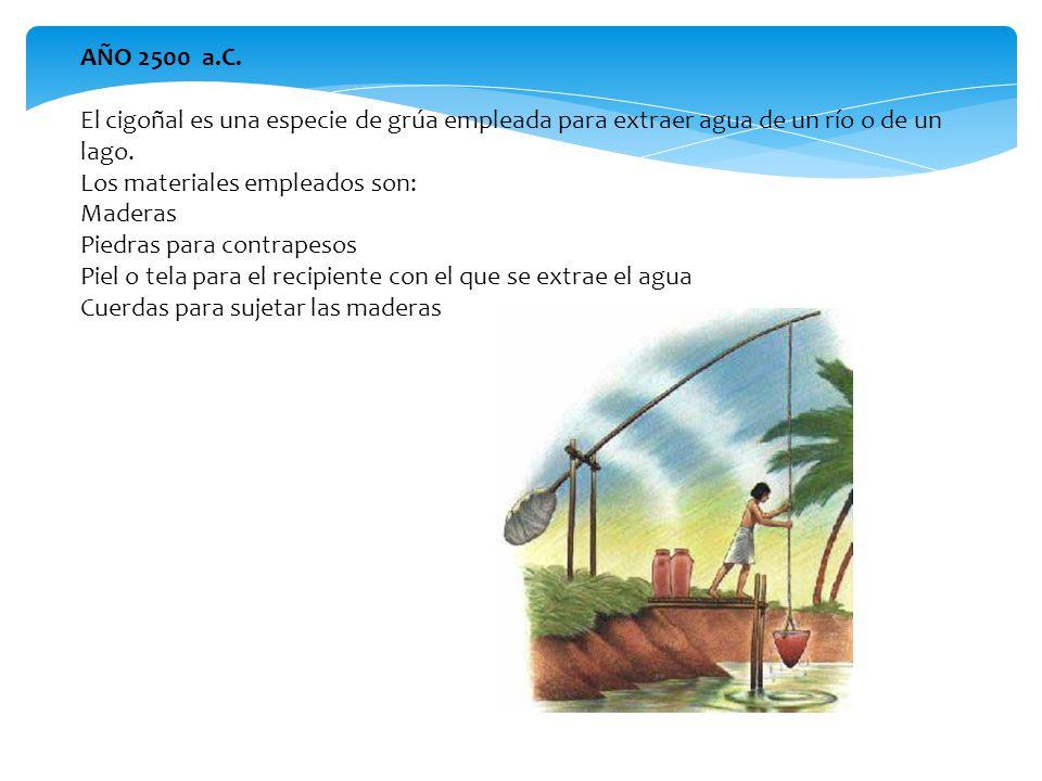 AÑO 2500 a.C. El cigoñal es una especie de grúa empleada para extraer agua de un río o de un lago.