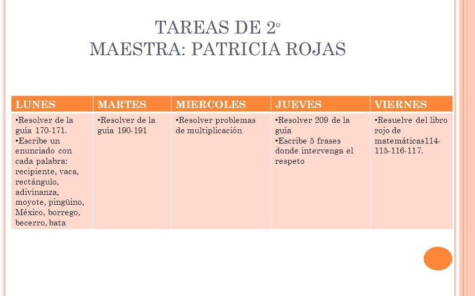 TAREAS DE 2º MAESTRA: PATRICIA ROJAS