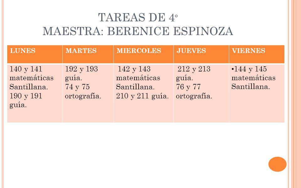 TAREAS DE 4º MAESTRA: BERENICE ESPINOZA
