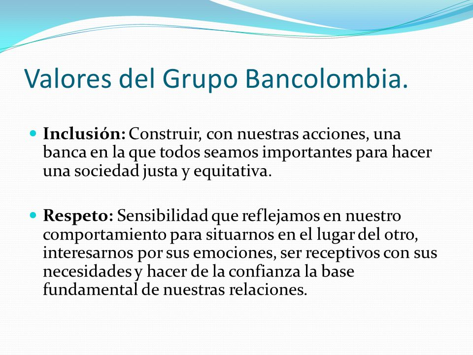 Valores del Grupo Bancolombia.