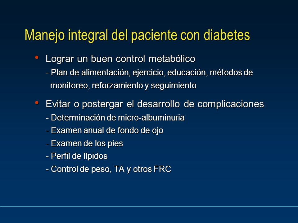 Manejo integral del paciente con diabetes