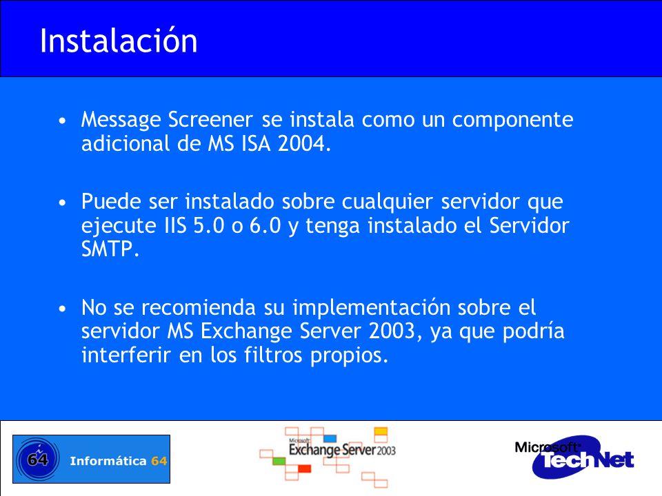Instalación Message Screener se instala como un componente adicional de MS ISA 2004.
