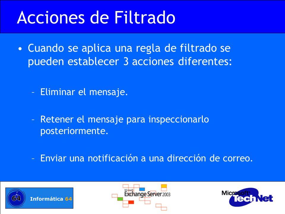 Acciones de Filtrado Cuando se aplica una regla de filtrado se pueden establecer 3 acciones diferentes: