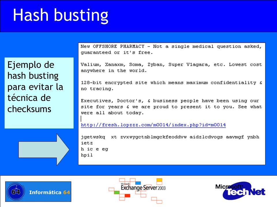 Hash busting Ejemplo de hash busting para evitar la técnica de checksums.