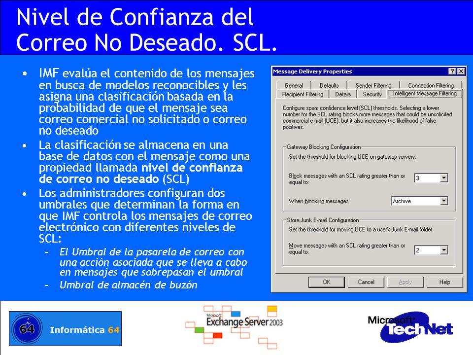 Nivel de Confianza del Correo No Deseado. SCL.