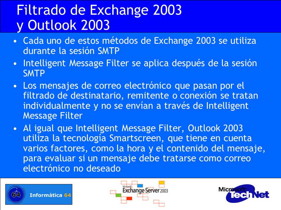Filtrado de Exchange 2003 y Outlook 2003