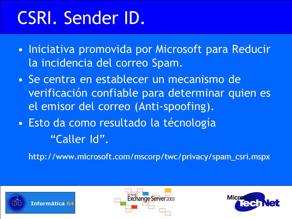 CSRI. Sender ID. Iniciativa promovida por Microsoft para Reducir la incidencia del correo Spam.