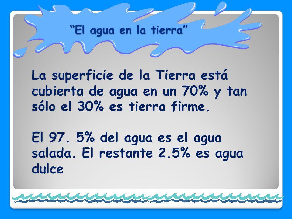 El 97. 5% del agua es el agua salada. El restante 2.5% es agua dulce
