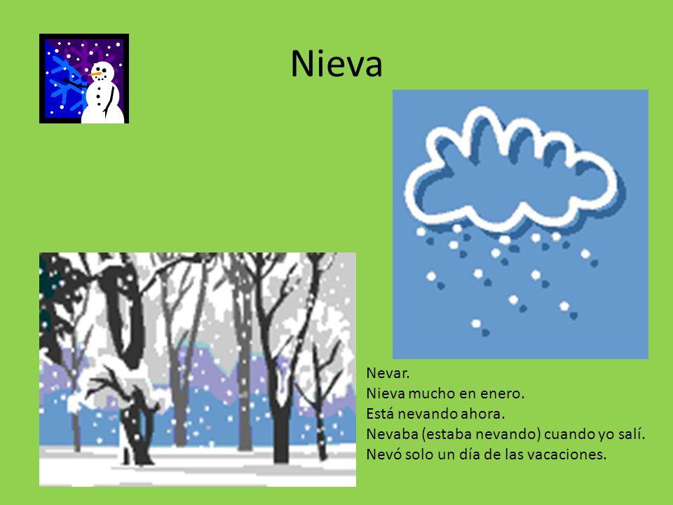 Nieva Nevar. Nieva mucho en enero. Está nevando ahora.