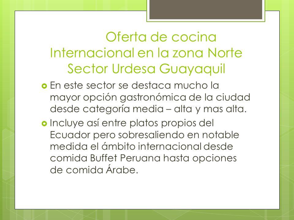Oferta de cocina Internacional en la zona Norte Sector Urdesa Guayaquil