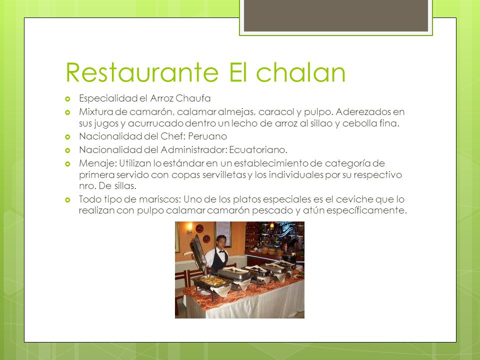 Restaurante El chalan Especialidad el Arroz Chaufa