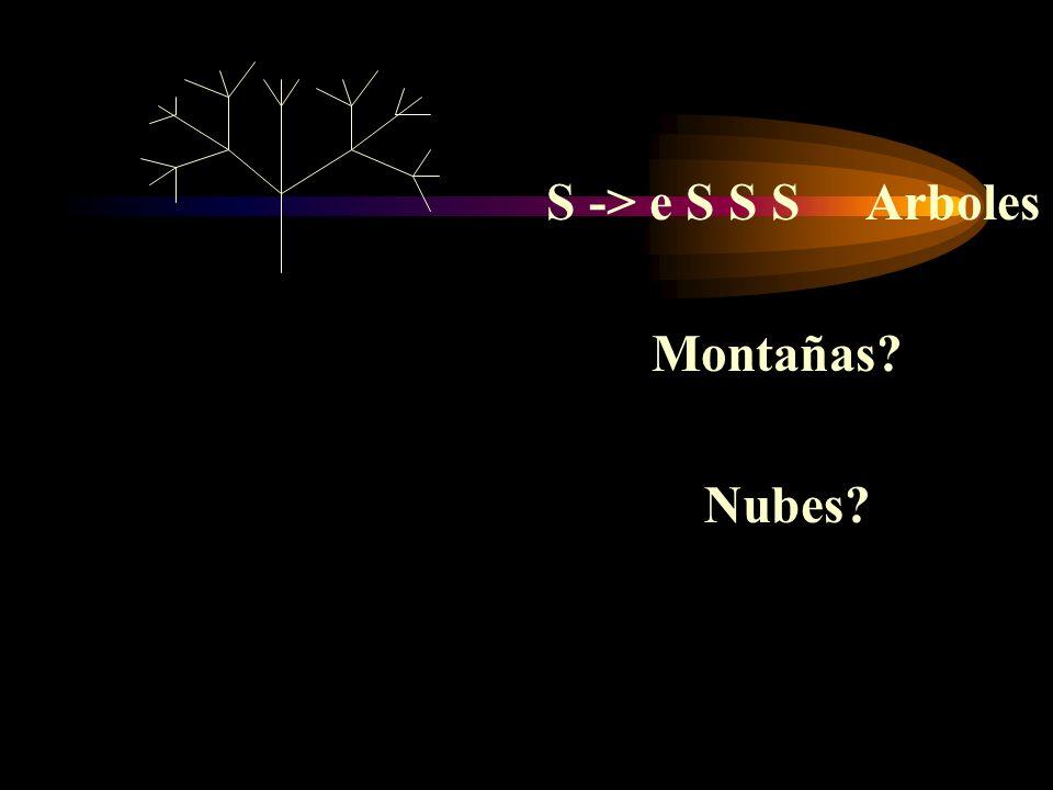 S -> e S S S Arboles Montañas Nubes