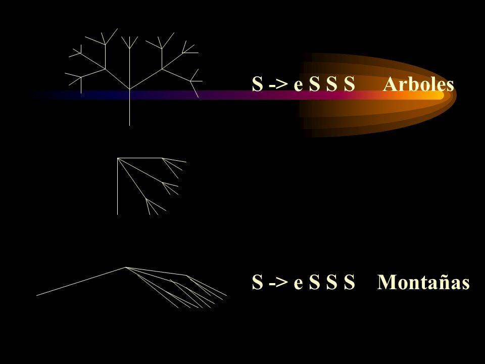 S -> e S S S Arboles S -> e S S S Montañas