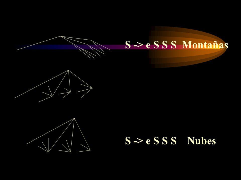 S -> e S S S Montañas S -> e S S S Nubes